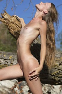 Model Chova in Fallen Tree
